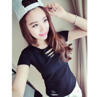 Harga The new south korean college wind slim was thin casual small fresh stripe t-shirt short sleeve t-shirt large size women was thin hole crack (4582 black)