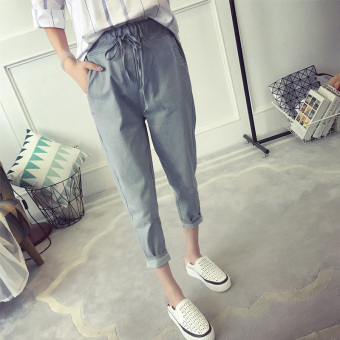 Harga Pants female spring and summer 2017 New style Korean-style lace College Wind casual pants Women's summer thin pantyhose pants tide HarLan pants (Light blue)
