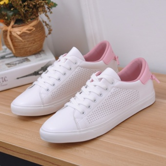 Harga Large children girl white leather canvas shoes Korean-style soft bottom soft surface hollow casual white shoes summer female shoes (White pink)