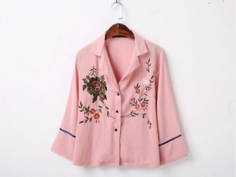 Harga European and American New style heavy work embroidery flower Top