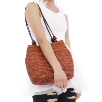 HengSong Fashion Casual Straw Bags Women Seaside Bag Coffee - 4