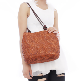 HengSong Fashion Casual Straw Bags Women Seaside Bag Coffee - 2