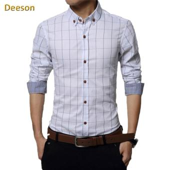 High Quality Pure Cotton Plaid Slim Formal Business Long Sleeve Men Shirt(White) - intl
