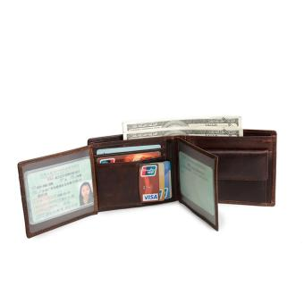 Harga Genuine Leather Men Wallets Leather Man Short Wallet Vintage Coffee - intl