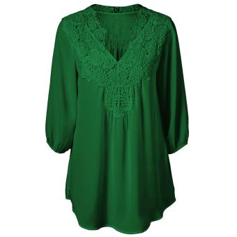 Harga S-5XL Lace Blusa Summer Women Blouses Feminina Chiffon V-neck Shirts 3/4 Sleeve Plus Size Loose Top Chemise Femme Shirts - intl