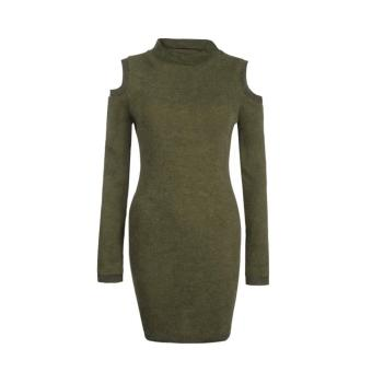Women High Collar Dress Sweater Knit Wool off Shoulder Dress - intl