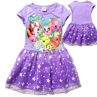 Harga Kisnow Ice Silk Shopkins 115-155cm Body Height Princess Dresses(Color:Purple) - intl
