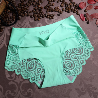 Harga New victoria seamless ice silk lace seamless ladies underwear lace seamless ice silk underwear (Fruit green)