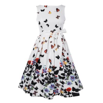 Harga Sleeveless Floral Self Tie A Line Dress - intl