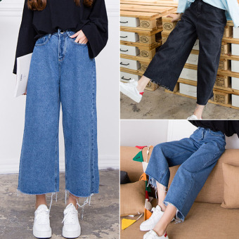 Harga Retro hair new to be big denim pants