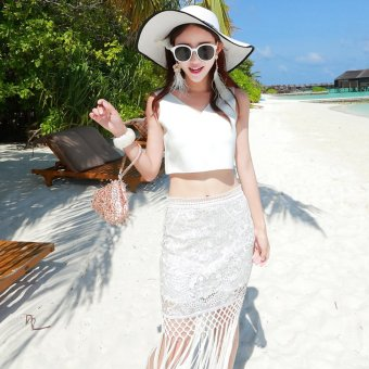 Harga Summer sexy v-neck exposed waist lace stitching fringed beach dress bohemian dress was thin package hip skirt piece set