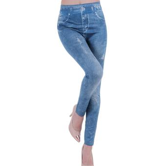 Harga New Women's Denim Look Ripped Faux Jean Leggings - intl