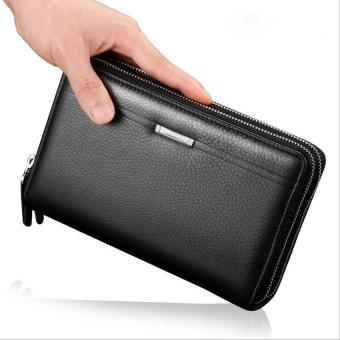 Harga Business Long Men Wallets PU Leather Clutch Purse Men Handy Bag Carteira Brown Black Top Double Zipper Large Wallet - intl