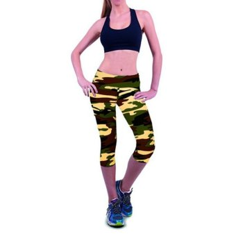 Harga LALANG Exercise Leggings Sports Fitness Stretch Cropped Pants 22#