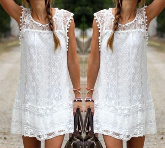 Summer Dress Sexy Women Casual Sleeveless Beach Short Dress Tassel Solid White Mini Lace Dress - intl