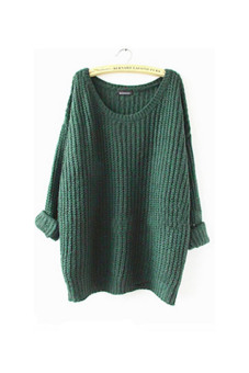 Women Oversized Batwing Sleeve Knitted Sweater Tops Loose Cardigan Outwear CoatᆪᄄGreenᆪᄅ - Intl