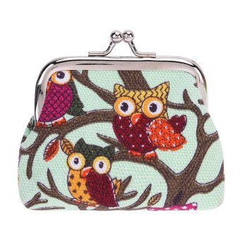 Harga Wallet Coin Owl Canvas Change Purse Clutch Cosmetic Bag Cartoon(Green)-one size - intl