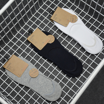 Harga Simple Solid color cotton deodorant invisible men and women boat socks