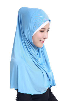 Harga Muslim Hijab With Diamond Scarf Meryl Tudung Ice Silk LIDS - Sku Blue - intl