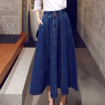 Harga Women's Korean-style high-waist denim A-line skirt