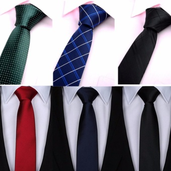 6 pcs Necktie for Men Silk Woven Skinny Slim Narrow Tie Wedding Business Black Blue Green Plaid - intl