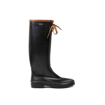 Aigle Womens/Woman/Lady/Ladies Fashion Rain Boots Waterproof Water Resistance Rubbers Shoes/Shoe Galoshes MISS MARION(Black/Amber) - 2