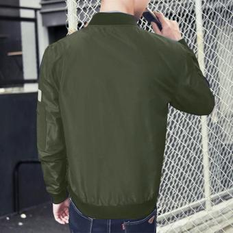 Men's New fashion designs Bomber Jacket Slim Coat Green - intl - 5