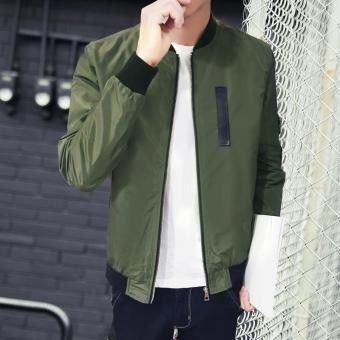 Men's New fashion designs Bomber Jacket Slim Coat Green - intl - 2