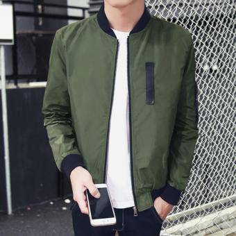 Men's New fashion designs Bomber Jacket Slim Coat Green - intl - 3