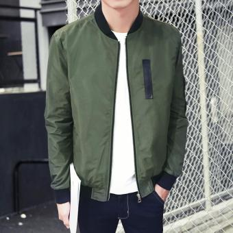 Men's New fashion designs Bomber Jacket Slim Coat Green - intl - 4