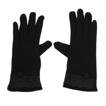Woen Touch Screen ittens Sheep Wool Winter Lace Glove