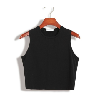 Harness vest female short paragraph korean version of the summer wild slim was thin outer wear cotton short paragraph lo shi bottoming shirt sexy (Black)