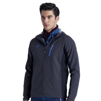 Men Outdoor Hiking Mountain Softshell Jacket Waterproof Autumn Winter Explore Outwear Windproof Jackets Wind Coat Hooded – dark grey - intl - 3