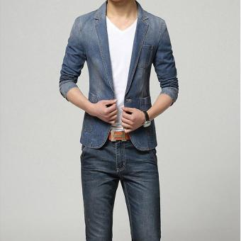 Harga 2017 New Spring Brand Fashion Men's Blazer Men's Trend Jeans Suits Costume Casual Jean Men's Jacket Slim Fit Denim Jacket Men's Suit (Dark Blue) - intl