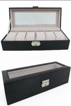 Harga 6 Carbon Fibre Leatherette Watch Case