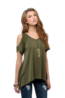 Harga Cyber Sexy Women Casual V-Neck Off Shoulder T-Shirt Short Sleeve Solid Stretch T-Shirt Tops ( Amy Green )