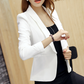 Korean Style Fashion Women's formal Suit Coat Female Solid color Slim Fit One Button Suit Jacket