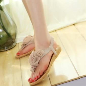 Harga Ladies Flat Sandals Summer New Flat Heel Beach shoes Boho Sandals Female Flower Shoes (Beige) - intl