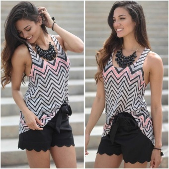 Harga Stylish Scoop Neck Sleeveless Zig Zag Racerback Women's Tank Top - intl