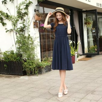 Harga Linen dress literary Slim fit retro Sen female line long section short-sleeved Linen dress women's 2017 summer (Navy blue)