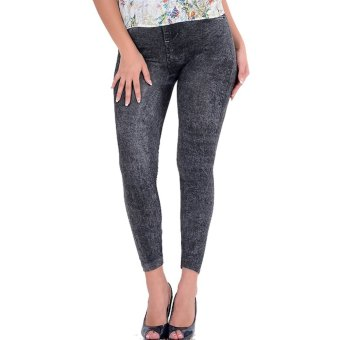 Harga Women Jean Skinny Stretchy Slim Leggings Black