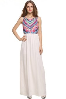 Astar Women Tank Dresses Lady Bohemia Printing Pattern Chiffon Dress Elastic Waist Sleeveless Beach Maxi Dress (White) (Intl)
