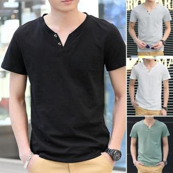 Clothingloves Fashion Solid Color V-Neck Short Sleeve Cotton Men's Casual T-Shirts (Gray) - intl - 2