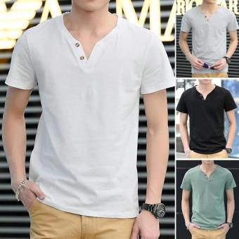 Clothingloves Fashion Solid Color V-Neck Short Sleeve Cotton Men's Casual T-Shirts (Gray) - intl - 3