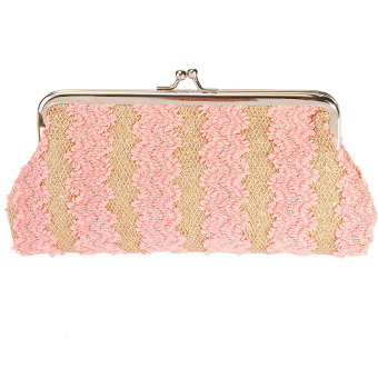 Harga Coin Purse Satin Hollow Lace Patchwork Striped Clutch Evening Bag Pink