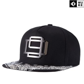 Harga Victory Fashion Man WUKE Hats New Hip-hop Iron card printing Han edition Flat brim cap(Black) - intl