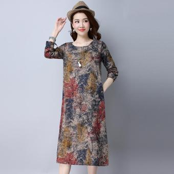 Harga New Retro Printing Was Thin Long Sleeves Cotton and Linen Dress(Red) - intl