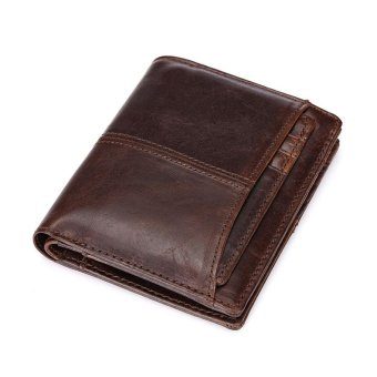 Harga Vintage Leather Wallet Men Short Wallets Male Card Holders Mens Clutch Coin Purse Good Capacity Decent Wallets - intl