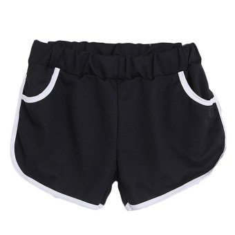 Harga Hequ Sports Fashion Women Slim Pants With Two Pockets Cotton Shorts Black - Intl