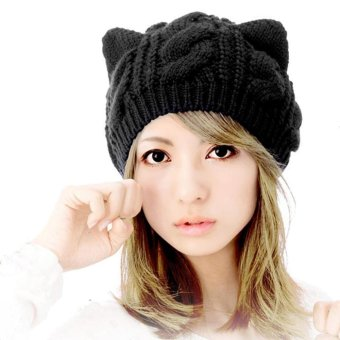 Woen Winter Beanie Devil Horns Cat Ear Crochet Braided Knit Black